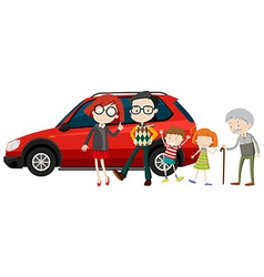 Family members standing in front of car vector image