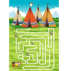 Game template with teepee and indians vector