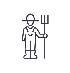 male farmer with hayfork linear icon sign symbol vector image