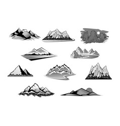 Mountain landscape isolated icon set vector