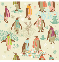 penguins Christmas pattern vector image