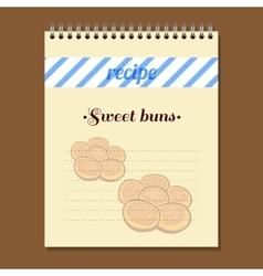 Recipe book sweet buns vector