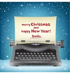 Santa claus typewriter and snow vector