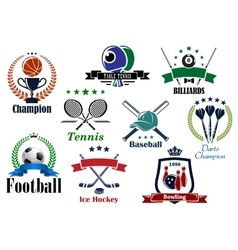 Sporting icons and emblems with heraldic elements vector image