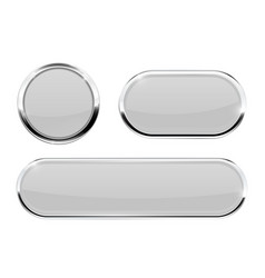 white buttons with chrome frame vector image vector image