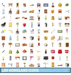100 homeland icons set cartoon style vector