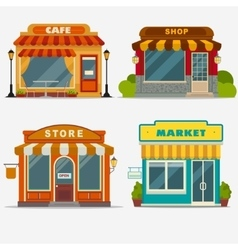 Market street shop small store front vector