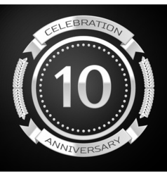 Ten years anniversary celebration with silver ring vector