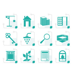 stylized simple real estate icons vector image