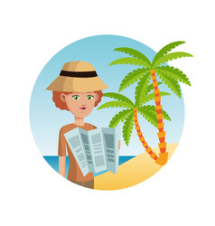 Woman tourist hat reading map palm sand beach vector