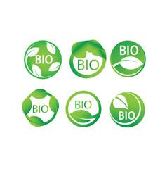 Round green leaf bio label icon set vector
