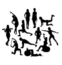 Fitness and exercises activity silhouettes vector
