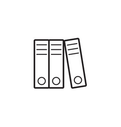 Lever arch binders thin line icon paper folders vector