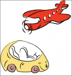 Plane and car vector