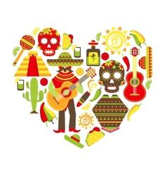 Mexico decorative icons set vector image