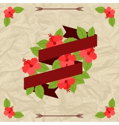 Tropical background with stylized hibiscus flowers vector image