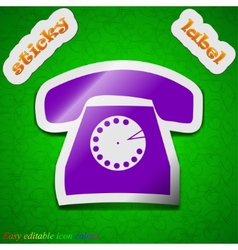 Retro telephone icon sign symbol chic colored vector