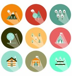 Forests and camping icons shadow vector