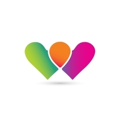 Hearts icon logo together vector