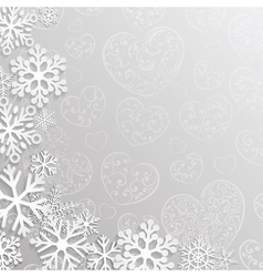 Christmas background with hearts and snowflakes vector