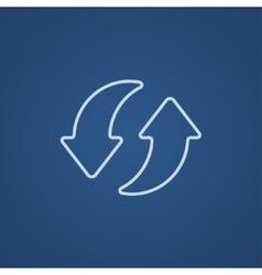 Two circular arrows line icon vector