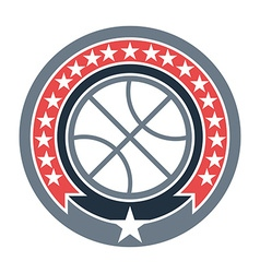Basketball badge with stars vector
