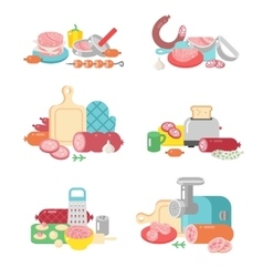 Meat products food preparation flat vector