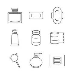Line icons medical pharmacist basic equipment icon vector