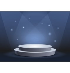 Empty template of white round podium on blue vector