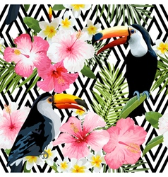 Tropical birds and flowers geometric background vector