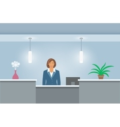 African american woman receptionist at reception vector