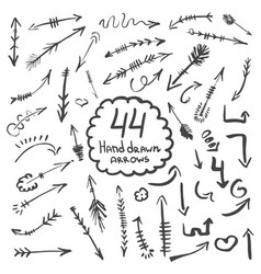 big collection of hand drawn arrows and symbols vector image