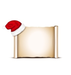 Blank Paper With Santa Hat on a white background vector image vector image