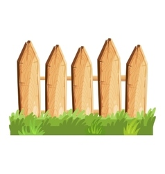 Cartoon rural wooden fence in green grass vector