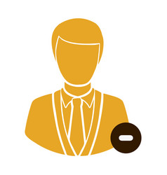 Color half body silhouette man with sign minus vector