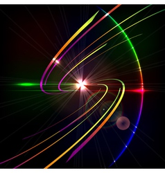 Colorful glowing curves in space design technology vector image vector image