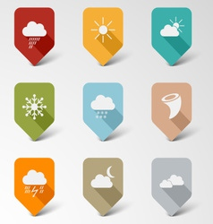 Colorful set web retro pointers for weather vector
