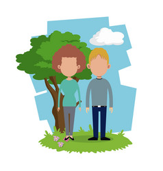 Couple relation together tree background vector