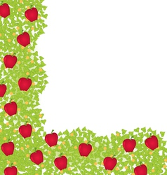 Decorative corner element with red apples vector