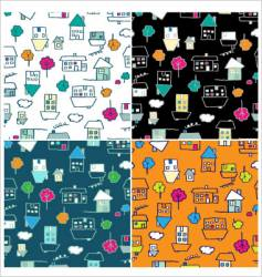 doodle houses seamless vector image vector image