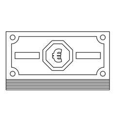 euro cash icon outline style vector image