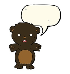 Frightened black bear cartoon with speech bubble vector