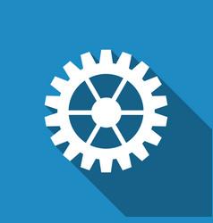 gear icon with long shadow vector image vector image