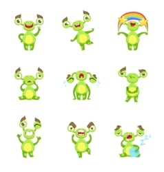 Green monster character different emotions and vector