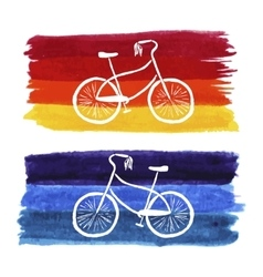 Hand-drawn retro style bicycle watercolor vector