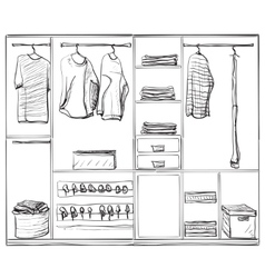Hand drawn wardrobe sketch Clothes and foot vector image vector image