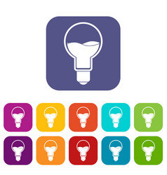 Light bulb with blue water inside icons set flat vector