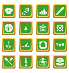 nautical icons set green vector image