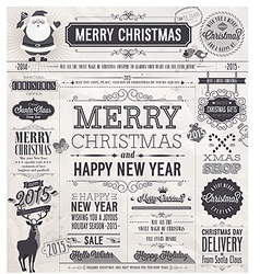 newspaper xmas labels vector image