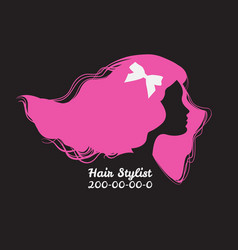 Pink silhouette of woman with long hair template vector
